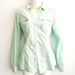 Express mint button up shirt, medium.